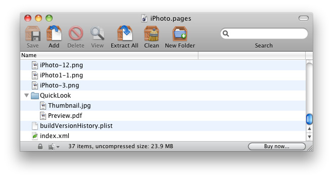 Фоматы iWork '09 на самом деле являются обычным ZIP-архивом