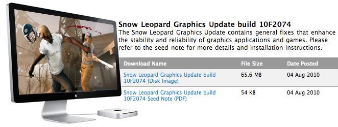Обновление Snow Leopard Graphics Update доступно для разработчиков