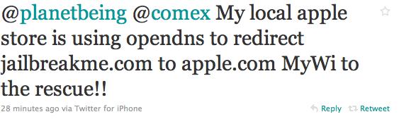 Apple Store перенаправляет пользователей с JailbreakMe.com на Apple.com