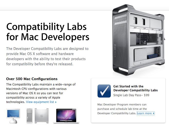Apple сдает лаборатории для разработчиков за $99/день