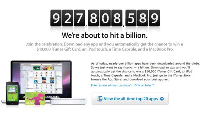 App Store: счетчик на миллиард