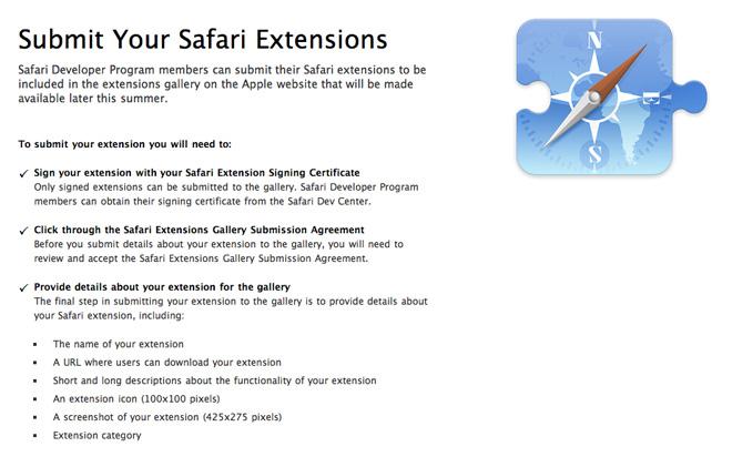 Apple создаст галерею расширений для Safari